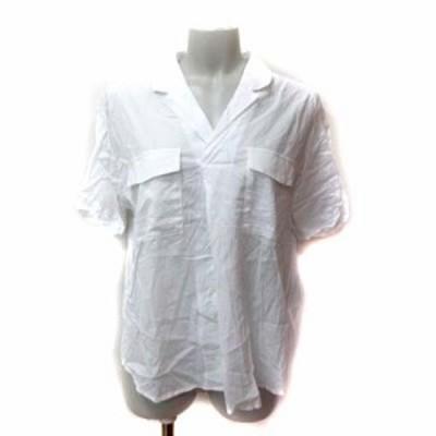 【中古】ダブルクローゼット シャツ ブラウス ドロップショルダー 五分袖 切替 透かし編み F 白 ホワイト レディース