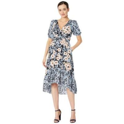 ドナモーガン レディース ドレス  Short Bubble Sleeve Midi Dress with Ruffle High-Low Hem and Waist Ruching