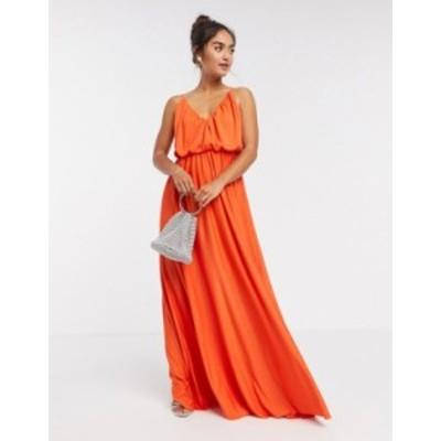 エイソス レディース ワンピース トップス ASOS DESIGN cami plunge maxi dress with blouson top in orange Orange
