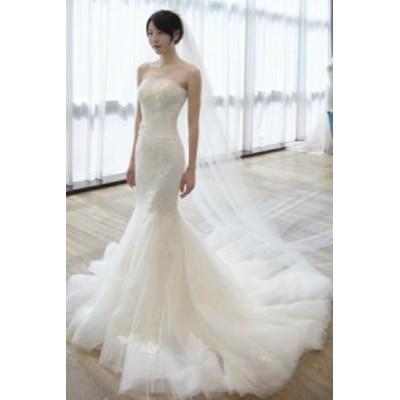 マーメイドドレス ウエディングドレス ウェディングドレス ロングドレス マーメイドライン 締め上げタイプ ウエディング ドレス1400