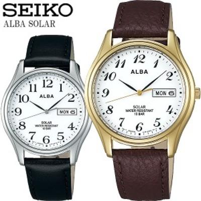 SEIKO ALBA セイコー アルバ ソーラー腕時計 ユニセックス 10気圧防水 牛皮革(カーフ) ハードレックス カレンダー 日付 曜日 シンプル ブ