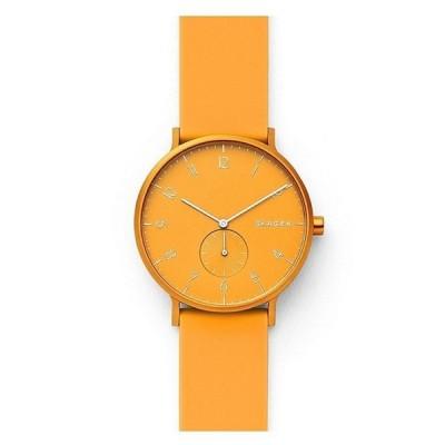 スカーゲン レディース 腕時計 アクセサリー Aaren Kulor Yellow Silicone Watch