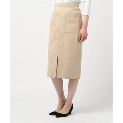 スカート ステッチワークカラースエードタイトスカート・