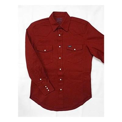 Wrangler ウエスタンシャツ 赤 ラングラー 無地 ストレッチ シャツ  レッド MPS668
