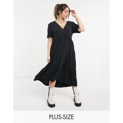 イン ザ スタイル プラス レディース ワンピース トップス In The Style Plus X Jac Jossa midi smock dress in black Black
