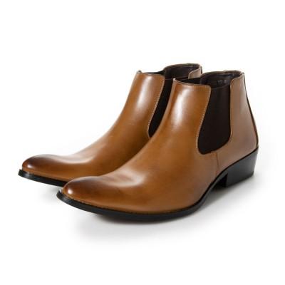 ジーノ Zeeno ビジネスシューズ メンズ ブーツ チャッカーブーツ 脚長 ショートブーツ ドレスシューズ 革靴 メンズブーツ 紳士靴 靴 サイドゴア (ブラウン)