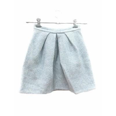 【中古】トランテアン ソン ドゥ モード 31 Sons de mode スカート フレア ミニ ウール リボン 総柄 36 青 ブルー レディース