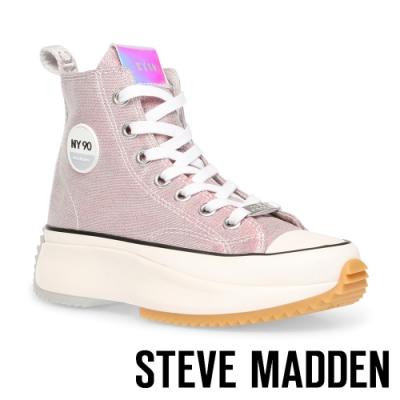 STEVE-MADDEN-SHARK 經典潮流款 厚底休閒帆布鞋-粉色