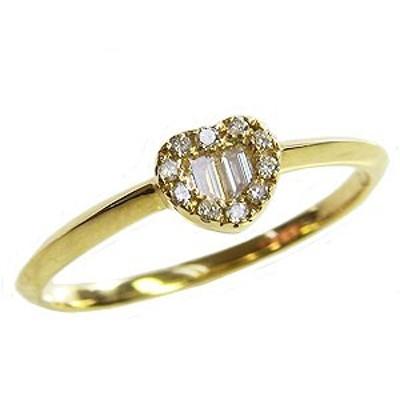 ハート ダイヤモンドリング ピンキーリング 指輪 イエローゴールド K18 指輪 おしゃれ