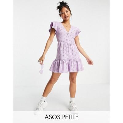エイソス ASOS Petite レディース ワンピース Vネック ミニ丈 ASOS DESIGN Petite broderie v neck button through mini dress with pep hem in lilac
