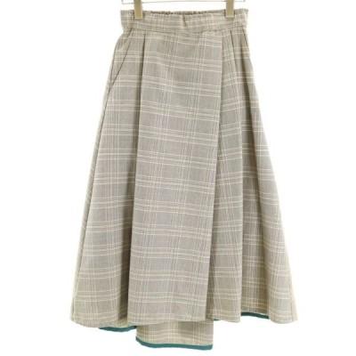 新品 グレンチェック フレア スカート 0 Bonnsylph リボン付き ドレープ 裾ブルーライン 茶 水色 レディース 200402