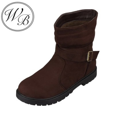 ウィルビー WILL BE WB-1012 レディース   ブーツ ショートブーツ   防水 雨の日   ベロア調   ダークブラウン