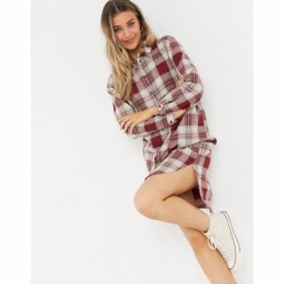 ジェイディーワイ JDY レディース ワンピース シャツワンピース ワンピース・ドレス oversized shirt dress in brown check ブラウンチェ