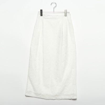 スタイルブロック STYLEBLOCK リーフ柄ラッセルレースタイトスカート (ホワイト)