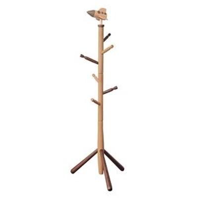 ds-1984694 キッズポールハンガー/コートハンガー 【ロケット】 高さ124cm 木製 ナチュラルブラウン 〔子供部屋家具 キッズ家具 什器〕【