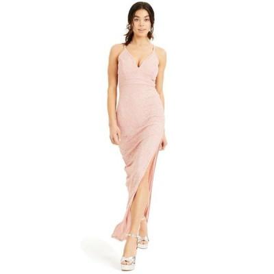 エメラルドサンデー レディース ワンピース トップス Juniors' Pink-Lace Racerback Gown