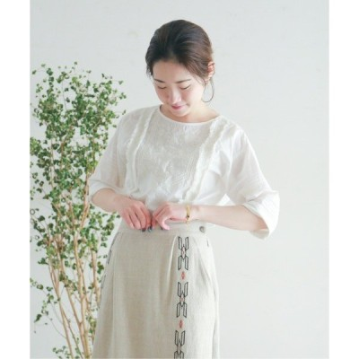 シャツ ブラウス インド刺繍×ピンタック 5分袖ブラウス