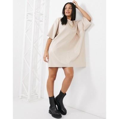 エイソス レディース ワンピース トップス ASOS DESIGN oversized leather look T-shirt dress in cream Beige