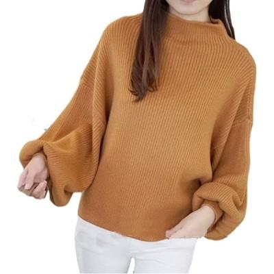 ポワン袖 セーター リブ ニット ボトル ネック ドルマン パフ スリーブ クール ブラウス トップス(オレンジ, Free Size)