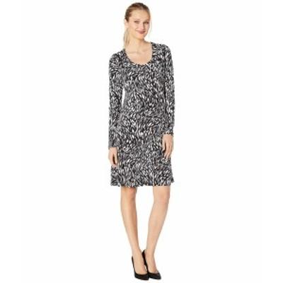 カレンケーン レディース ワンピース トップス Long Sleeve A-Line Dress Off-White/Black