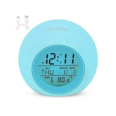 W OUTWIT Alarm Clock, Kids Clocks with 7 Color Changing Night Light, Rechar
