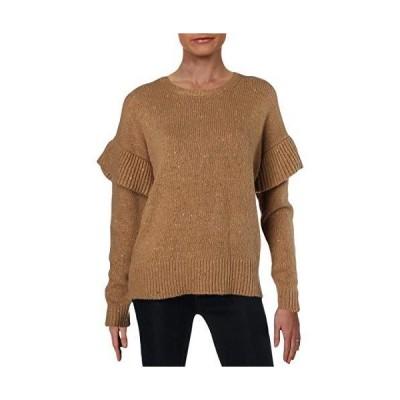 Ralph Lauren Womens Wool Blend Ruffled Pullover Sweater, Beige, Large並行輸入品