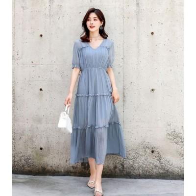 春夏 ドレス ロングドレス ワンピース サマードレス 袖あり 半袖 透け感 無地 マキシ丈 エレガント パーティ