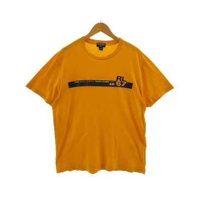 【中古】ポロジーンズ ラルフローレン POLO JEANS Tシャツ 半袖 丸首 ロゴプリント イエロー系 黄色系 XL 大きいサイズ メンズ 【ベクトル 古着】
