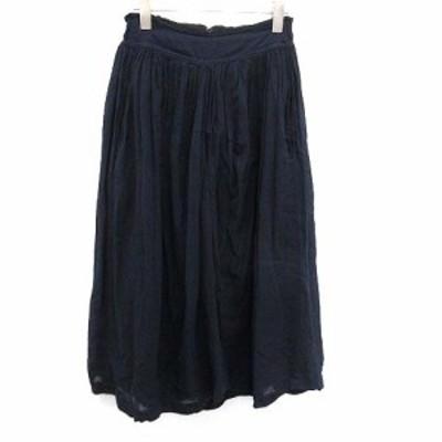 【中古】ワイズ Y's ヨウジヤマモト スカート ギャザー フレア ロング コットン 1 紺 ネイビー /KH レディース