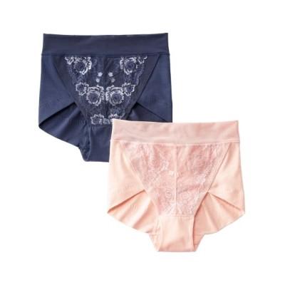 綿混ストレッチ立体設計でヒップを包むショーツ2枚組(3L) スタンダードショーツ, Panties