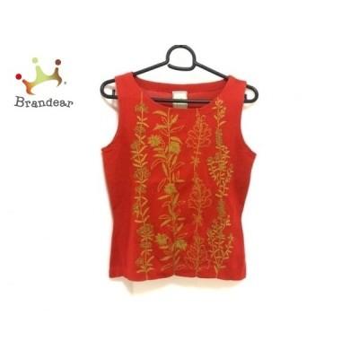 シビラ Sybilla ノースリーブセーター サイズM レディース - レッド×ブラウン 花柄/刺繍 新着 20210302