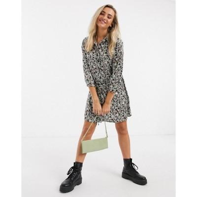 ジェイディーワイ レディース ワンピース トップス JDY Philippa 3/4 sleeve shirt dress in black floral print Black floral