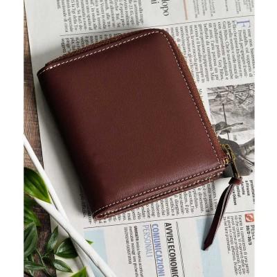 アッド Add+ 本革Lジップミニウォレット コンパクト財布 コインケース カードケース (ブラウン)