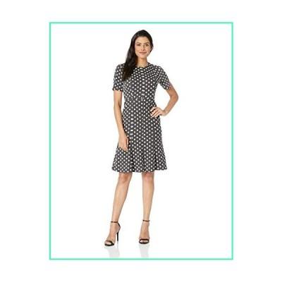 Donna Morgan Women's Split Sleeve Fit and Flare Dress, Black/Ivory Multi, 8並行輸入品