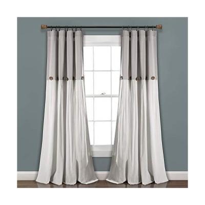 Lush Decor グレー/ホワイトリネンボタンウィンドウカーテン シングルパネル 84インチ x 40インチ 84インチ x 40インチ