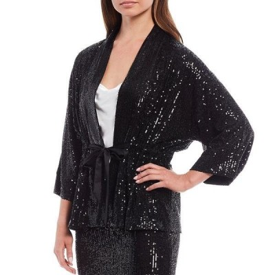 ギブソンアンドラチメール レディース ジャケット&ブルゾン アウター Tie Front Sequin Kimono Jacket Shiny Black