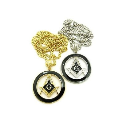 Shiny Jewelers USA メンズ フリーマソン フリーメイソン イルミナティ G コンパスペンダント 24インチ ボックスチェーンネックレ