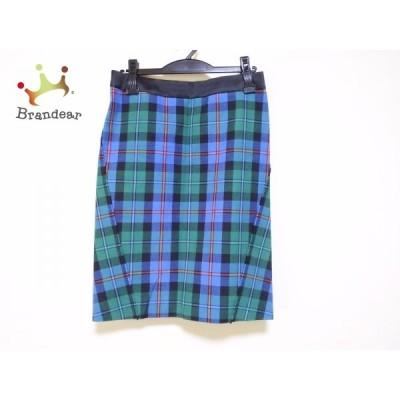 ドゥロワー Drawer スカート サイズ36 S レディース 美品 - ブルー×グリーン×マルチ 新着 20201212