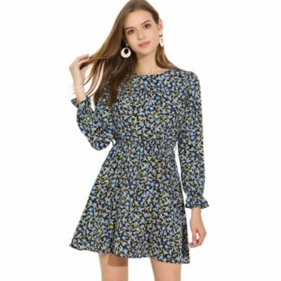 Allegra K 花柄 ワンピース フリル長袖 丸首 ショート丈 ドレス ベルト付き 秋 レディース ブルー XS