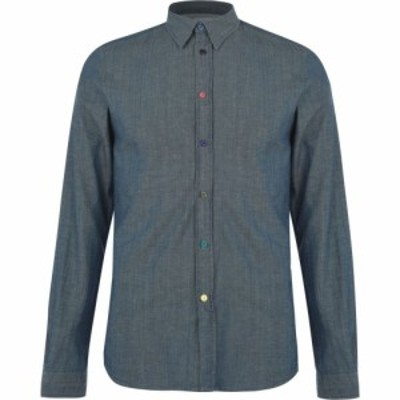 ポールスミス PS by Paul Smith メンズ シャツ トップス Multi Button Long Sleeve Shirt Blue MD