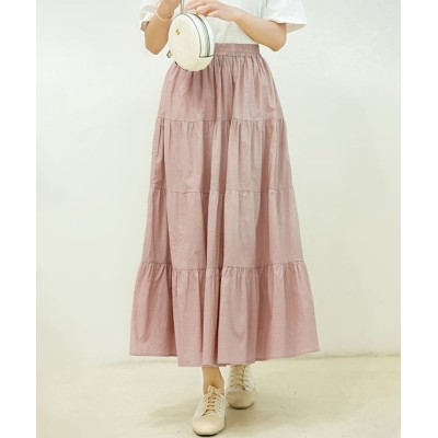 【セゾン ド パピヨン】 コットンギャザーティアードスカート レディース ピンク Sサイズ SAISON DE PAPILLON