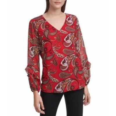 カルバンクライン レディース シャツ トップス Printed Blouse with Ruffle Sleeves Rouge Multi