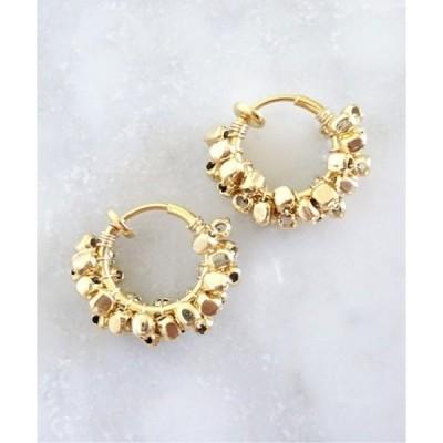 イヤリング 【marinaJEWELRY】14kgf/GOLD square metal wrapped hoop earring