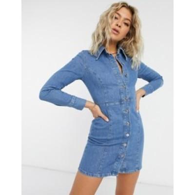 エイソス レディース ワンピース トップス ASOS DESIGN denim fitted mini dress with elongated collar in bright blue Blue