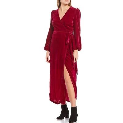 ハーリン レディース ワンピース トップス Velvet Long Sleeve Puff Shoulder Tie Waist Midi Wrap Dress Magenta