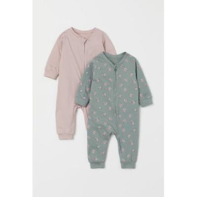 H&M - ジップパジャマ 2着セット - ピンク