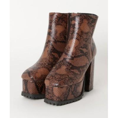 ブーツ minia / チャンキースクエアミドルブーツ