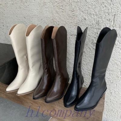 ロングブーツレディースブーツウエスタンブーツジョッキーブーツローヒール白ブラウン黒韓国ファッション