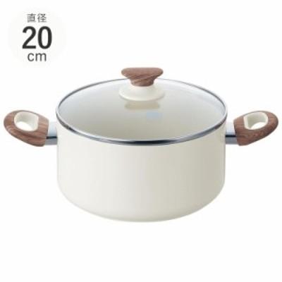 GreenPan グリーンパン ウッドビー キャセロール 20cm 蓋付き 両手鍋煮物鍋/焦げ付きにくい/おしゃれ/IH ガス/