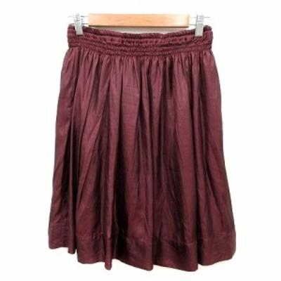 【中古】ドゥボンクール De bon coer ギャザースカート ひざ丈 赤 ボルドー /MN レディース